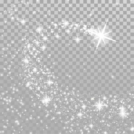 Jasna strzelająca magiczna gwiazda bożonarodzeniowa nad szachownicą. Ślad wybuchu fajerwerków streszczenie wakacje party tło. Stockowa ilustracja wektorowa. Ilustracje wektorowe