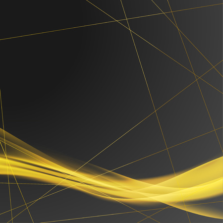 Bright luxurious golden swoosh over art-deco frame background. Vector illustration. Illustration