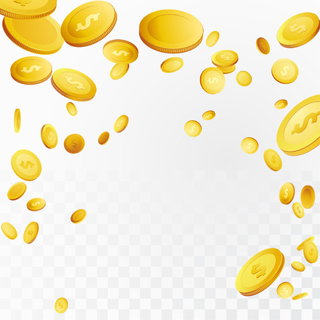 Million dollars jackpot money loon in the air over checkered background. Flying realistic 3D prize coins. Lottery Cash reward. Isolated cut-out Casino prize over white. Vector illustration