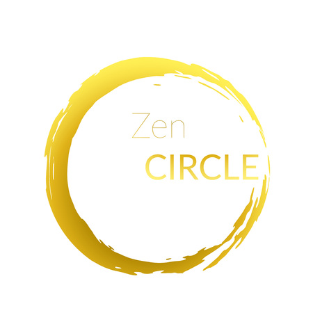 Modern abstract golden brush painted circle over white background. Graphic metallic gold gradient isolated round cut-out shape design. Vector illustration Çizim
