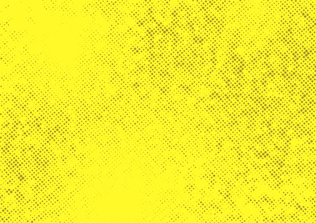 Yellow halftone dotted contrast template. Retro graphic grain texture polka dot Comic book style pop art abstract spotted page layout illustration