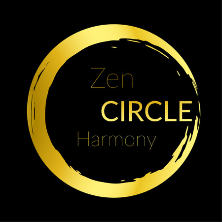 Golden abstract beautiful zen circle design. Modern brush painted shape over black background. Metallic gold isolated round cut-out shape. Vector illustration Vectores