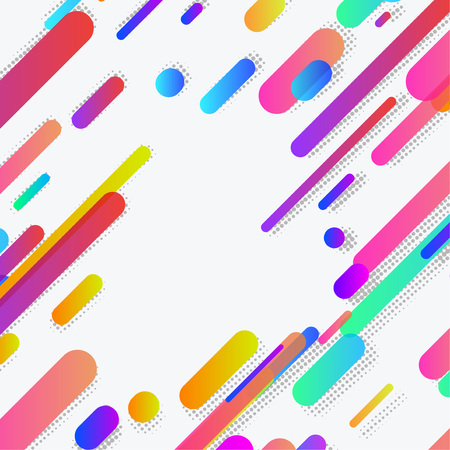 Modern abstract trendy neon lines background layout. Vivid colorful bright gradient plastic neon halftone shapes. Contemporary Wallpaper in a modern material design style. Vector illustration Illustration