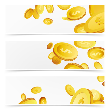 Financial agent flyer cards - money profits. Flying realistic 3D prize coins rain over white background banner collection. Lottery Cash. Casino prize. Vector illustration