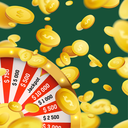 Fortune wheel million dollar cash money prize win. Online web casino background. Coin Rain. Luck and Fortune. Vector illustration