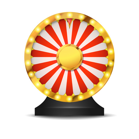 Isolated lottery fortune wheel over white layout. Golden metallic wheel of luck. Cut-out casino background. Vector illustration
