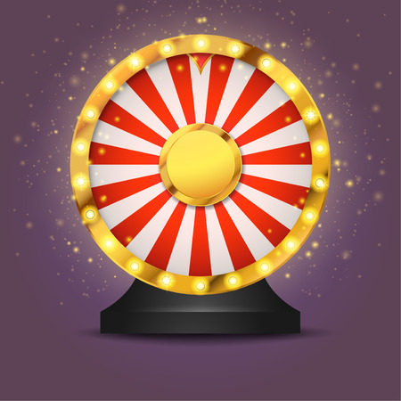 Realistic lottery fortune wheel isolated over dark background. Golden metallic wheel of luck.