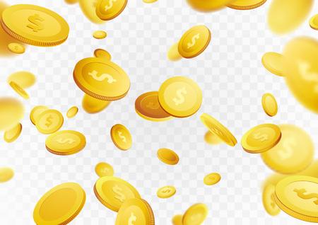 Geldregengeld-Kasinopreis des Million Dollars. Goldene Münzen des Vermögens, die Lotteriebelohnung fliegen. Jackpot Hintergrund. Getrenntes realistisches Bargeld 3D über weißem und grauem Plan. Vektor-illustration