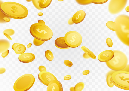 Premio del casinò dei contanti della pioggia dei soldi da milione dollari. Fortuna monete d'oro battenti ricompensa della lotteria. Sfondo del jackpot. Contanti realistici isolati 3D sopra disposizione bianca e grigia. Illustrazione vettoriale Archivio Fotografico - 96058202