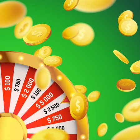 Casino games million dollar money fortune. Realistic lottery wheel and falling dollars over green background.
