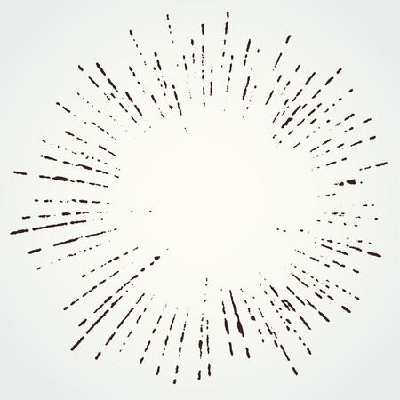 Retro style grungy distorted star burst design template. Vector illustration Illusztráció