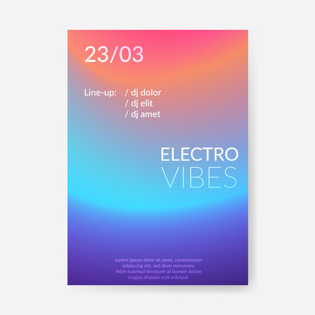 Modern soft neon light gradient pattern flyer design. Abstract halftone color poster template. Fluid blend background. Vector illustration
