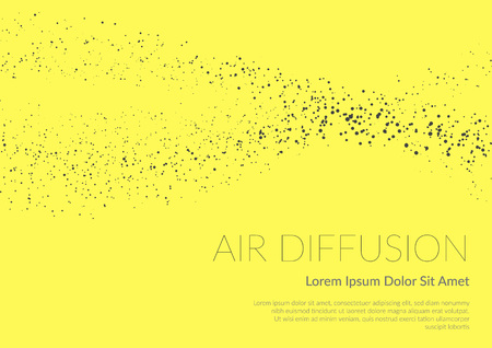 Air diffusion stream explained conceptual scientific background. Vector illustration