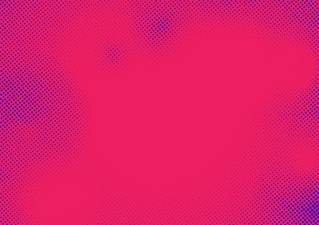 Halftone comic style pop art dots over pink background. Monochrome grain effect card layout template. Vector illustration