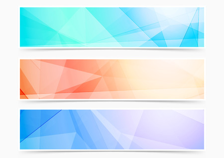 Bright triangular crystal pattern web header footer collection. Vector illustration