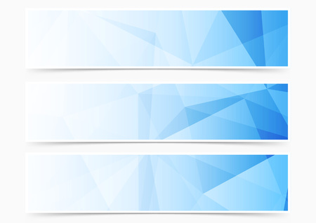 Modern web blue crystal pattern header collection set. Vector illustration