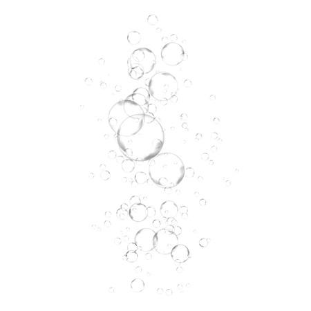 Air flou dans l'eau - mise en page de fond de bulle abstraite. Effet de gaz isolé transparent sur blanc. Illustration vectorielle Vecteurs