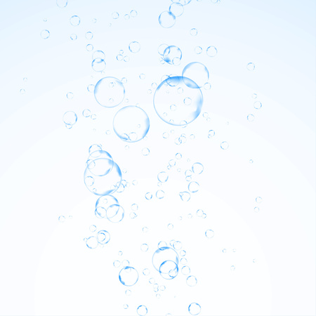 Fizzy refreshing water bubbles graphical abstraction. Effervescent soda drink gas isolated over blue background. Realistic transparent design layout. Vector illustration