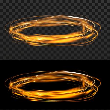 Orange speed energy flowing wheel over checkered black background. Vector illustration