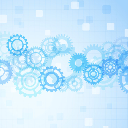 Contemporary mechanical gear abstraction over futuristic blue background layout. Vector illustration