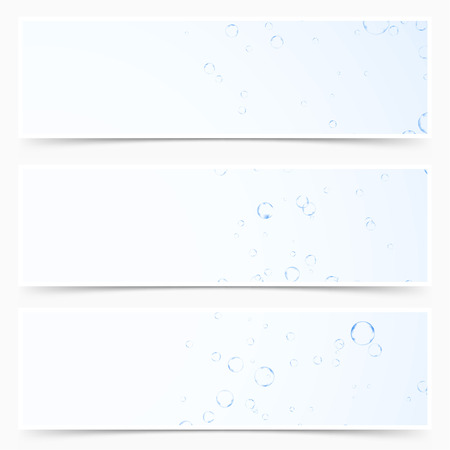 Underwater refreshing gas air bubbles pattern header collection. Vector illustration