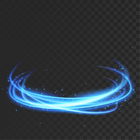 Orbital magical blue light transparent lines over checkered background. Vector illustration