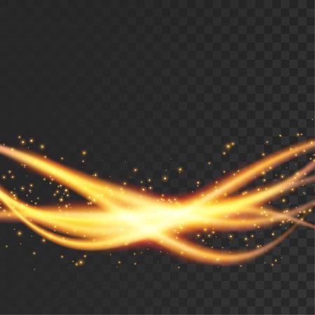 Orange futuristic transparent magical light streaks pattern layout. Bright orange transparent swoosh waves over dark background. Vector illustration