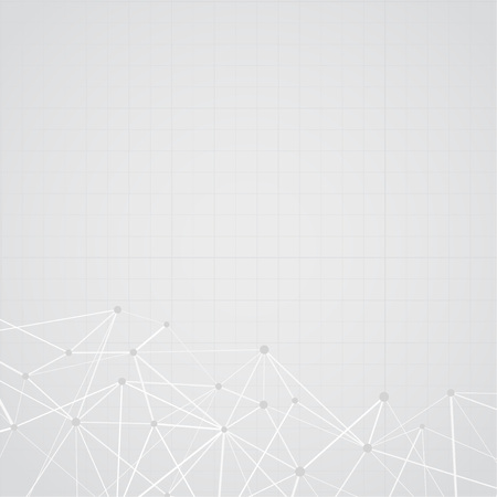 Interconnected dot lines over grey layout with net. High-tech Abstract plexus dots science background. Vector illustration