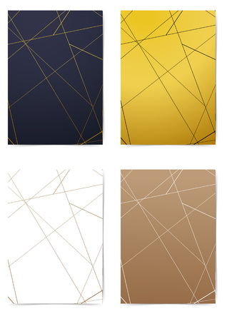 Modern thin line pattern different color folder collection. Contemporary art-deco style Golden A4 size Business book layout. Brochure Leaflet template, advert, magazine cover. Vector illustration