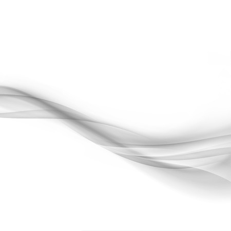 Elegant grey transparent mild smoke lines satin border over white background. Abstract transparent smoke gradient swoosh wave pattern. Vector illustration Illusztráció