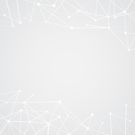 White interconnected plexus lines over light gray layout. High-tech Abstract science background - dots with net. Vector illustration Ilustrace