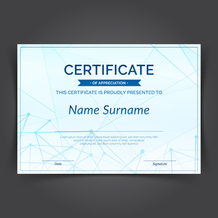 Modern geometrical and molecular pattern blue graphic certificate layout. Futuristic looking science graphical design layout. Vector illustration