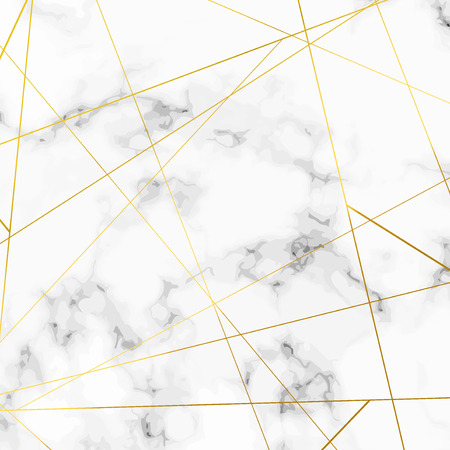 Bright golden metallic thin triangle pattern lines over marble stone layout. Vector illustration