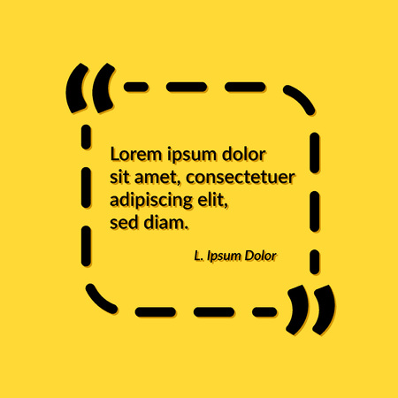 Quote creative frame over yellow background. Placeholder design visual template - wisdom quotate or phrase. Vector illustration