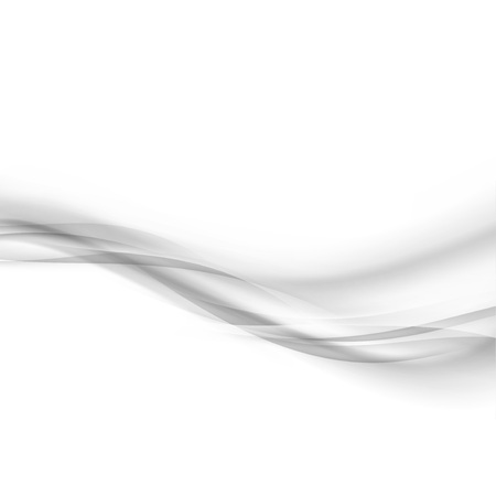 Grey mild liquid transparent smoke waves border divider over white background. Vector illustration