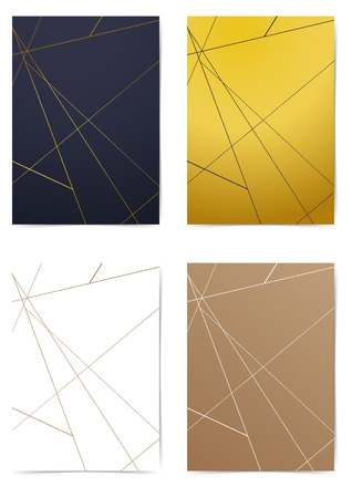 Thin line triangle pattern modern minimal folder collection. Modern Art-deco style A4 size Business book layout. Brochure Leaflet template, advert, magazine cover. Vector illustration Illusztráció