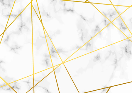 Thin minimal golden metallic triangle line pattern over marble layout. Vector illustration