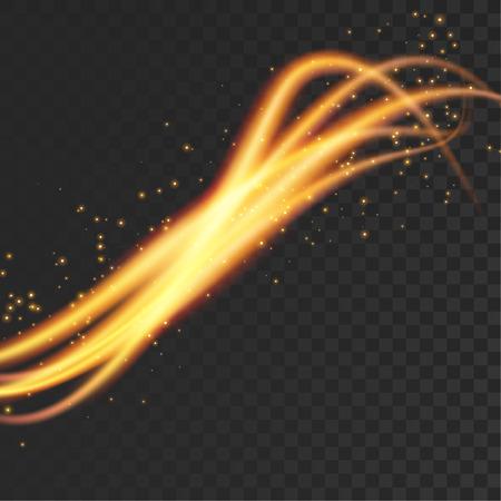 Speed orange light streak futuristic swoosh wave lines pattern. Vector illustration