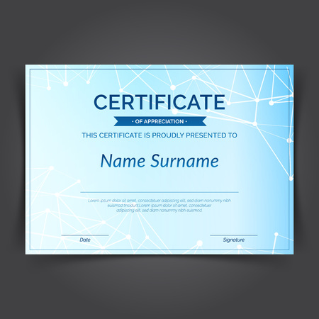 Scientifical achievement modern plexus molecular pattern blue certificate. Print ready futuristic looking graphical design layout. Vector illustration