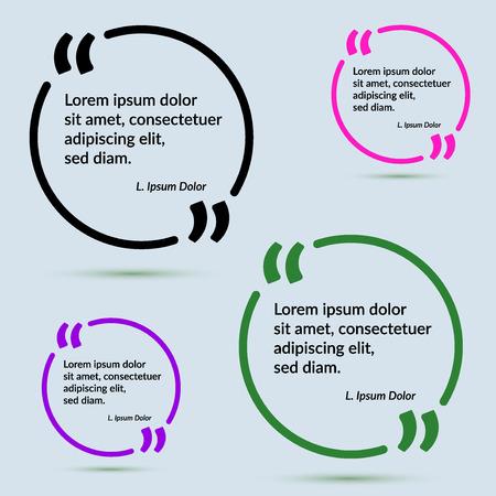 Quote frame in different colors design template collection. Vector illustration Ilustração