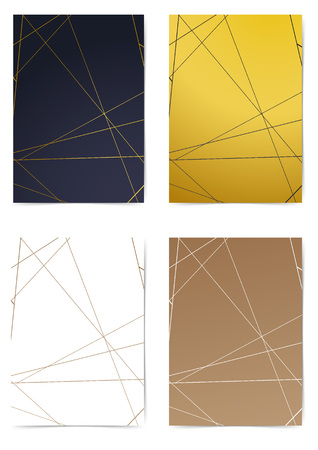 Thin minimal line pattern different commercial folder design. Modern triangle Cover collection. Art-deco style A4 size layout. Brochure Leaflet template, advert, magazine. Vector illustration Ilustrace