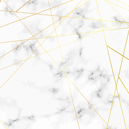 Golden triangle pattern metallic lines over marble stone background. Vector illustration