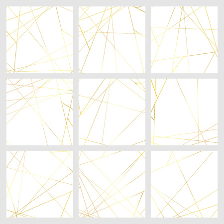 Thin minimalistic golden metallic triangle line pattern over white background. Vector illustration