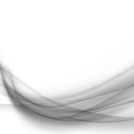 Grey transparent liquid smoke lines flow over white layout. Vector illustration