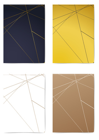 Triangular thin golden line pattern folder design collection. Minimal line A4 size Modern Cover layout. Brochure Leaflet template, advert, magazine. Vector illustration Illusztráció