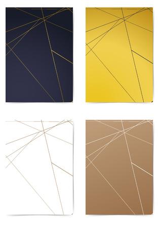 Triangular thin golden line pattern folder design collection. Minimal line A4 size Modern Cover layout. Brochure Leaflet template, advert, magazine. Vector illustration Ilustrace