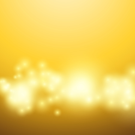 Magical yellow bokeh light glow over mild gradient layout. Vector illustration Illustration