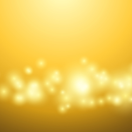 Bright yellow bokeh lights over solar background. Vector illustration