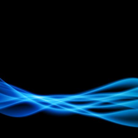 Modello di linee di onda di luce trasparente fumo ombra blu. Illustrazione vettoriale