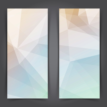 Two modern low poly vertical standing banner collection. Vector illustration 일러스트